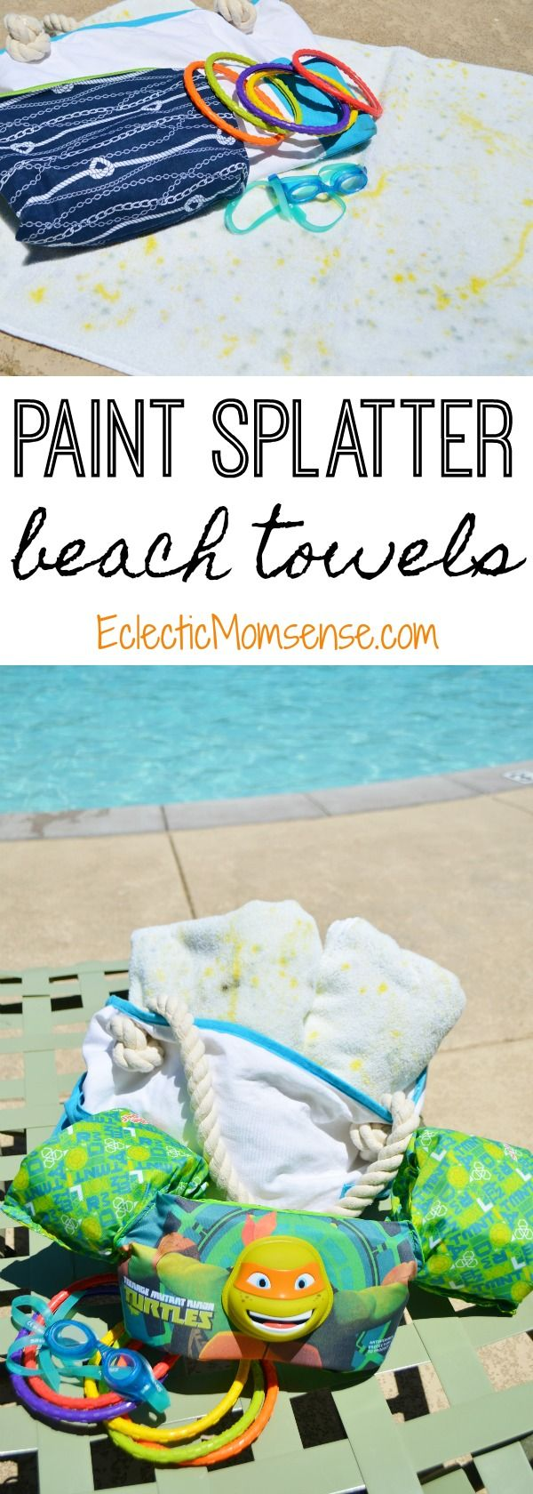 Splatter Paint DIY Beach Towels - Splash into summer with DIY Beach Towels. A fun splatter paint design the kids will love designing.