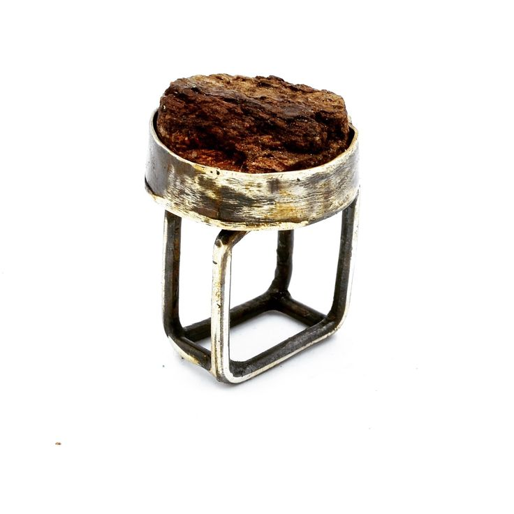 Sterling silver open square band ring, set with hand cut and lacquered White Oak