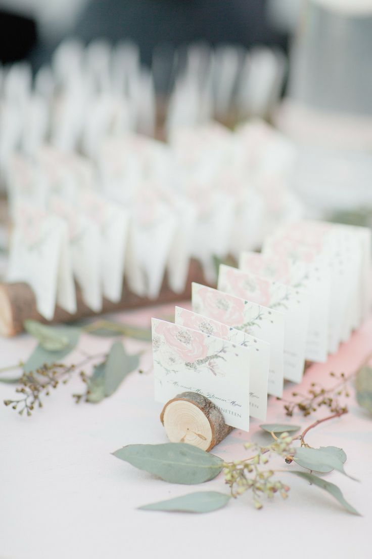 Lovely place cards by Momental Designs in birch | Brooklyn Botanic Garden Wedding from DM Events +  Elisabeth Millay Photography  Read more - http://www.stylemepretty.com/new-york-weddings/2013/10/28/brooklyn-botanic-garden-wedding-from-dm-events-elisabeth-millay-photography/