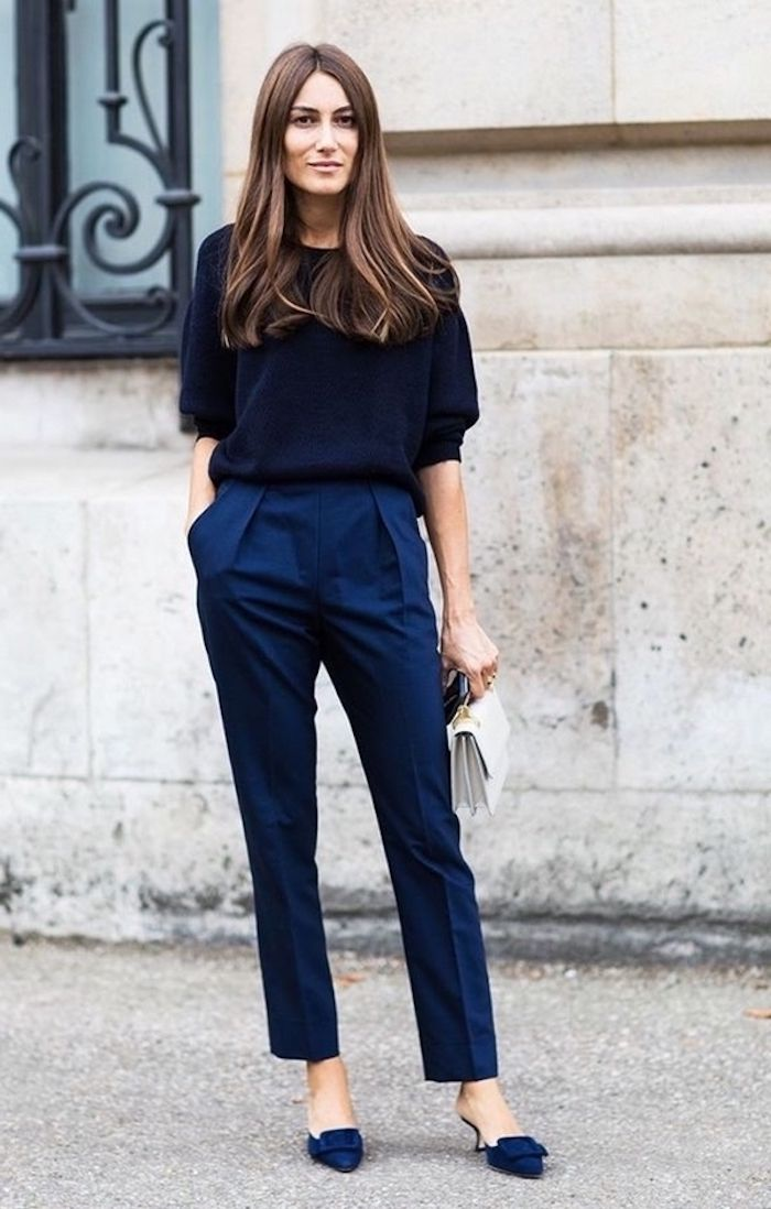 24fd7486b6 navy blue trousers, navy velvet loafers with heels, dark navy blue blouse,  white clutch, business casual attire