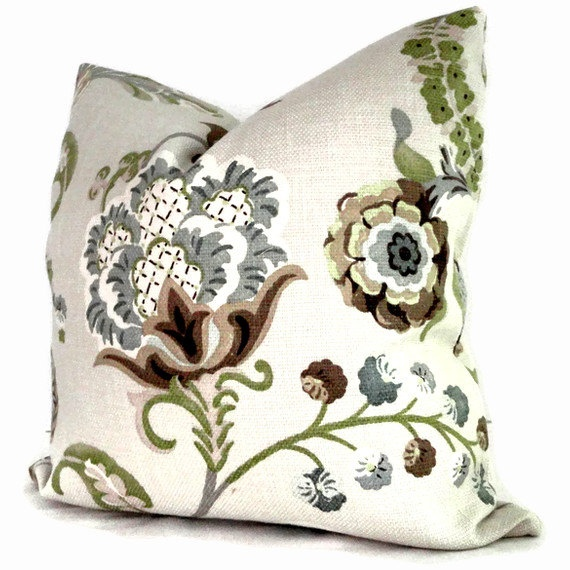 Throw Pillows Moroccan : Jacobean Floral Pillow in P. Kaufmann Chic Steel fabric. Pillows to match the shower curtain I ...