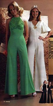 1975 Fashion: Jump Suits help to show the curve line of women's bodies and the high-waisted can hide some defect of legs.