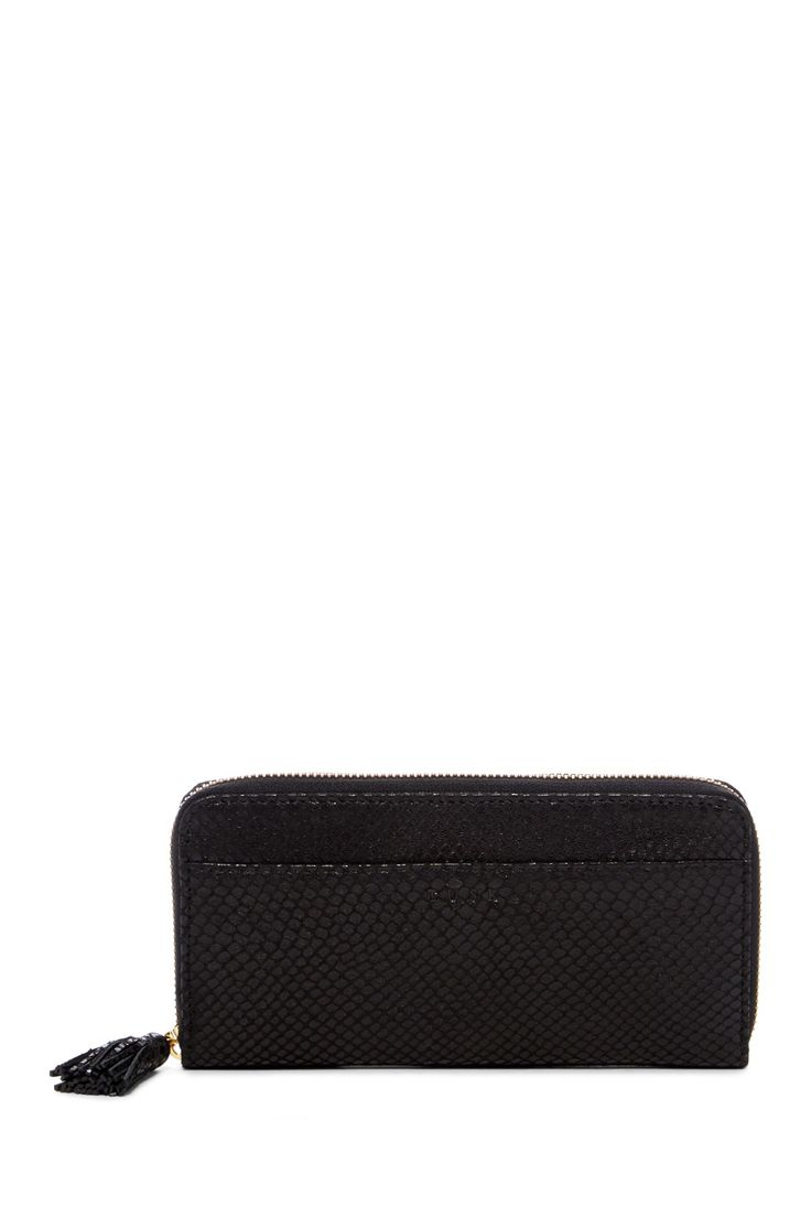 Snake Embossed Leather Single Zip Gusseted Clutch Wallet
