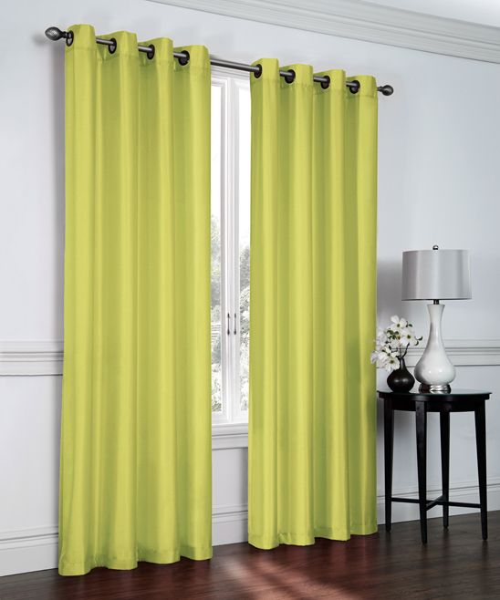 Avocado Faux Silk Curtain Panel - Set of Two