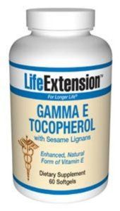 Life Extension Gamma E Tocopherol W/Sesame Lignans 30 Softgels by Life Extension. $14.63. 30 Softgels. Serving Size: 1 softgel. 30 Servings Per Container. The primary purpose of supplementing with vitamin E is to suppress damaging free radicals. Scientific studies have identified the gamma-tocopherol form of vitamin E as being critical to human health.Research shows that sesame lignans increase gamma-tocopherol levels in the body while reducing free radical damage...