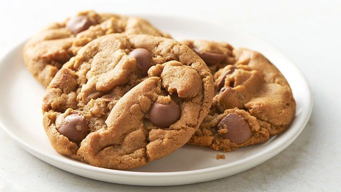 Only five ingredients in these super chewy peanut butter cookies. Add some milk chocolate chips to put them over the top delicious.