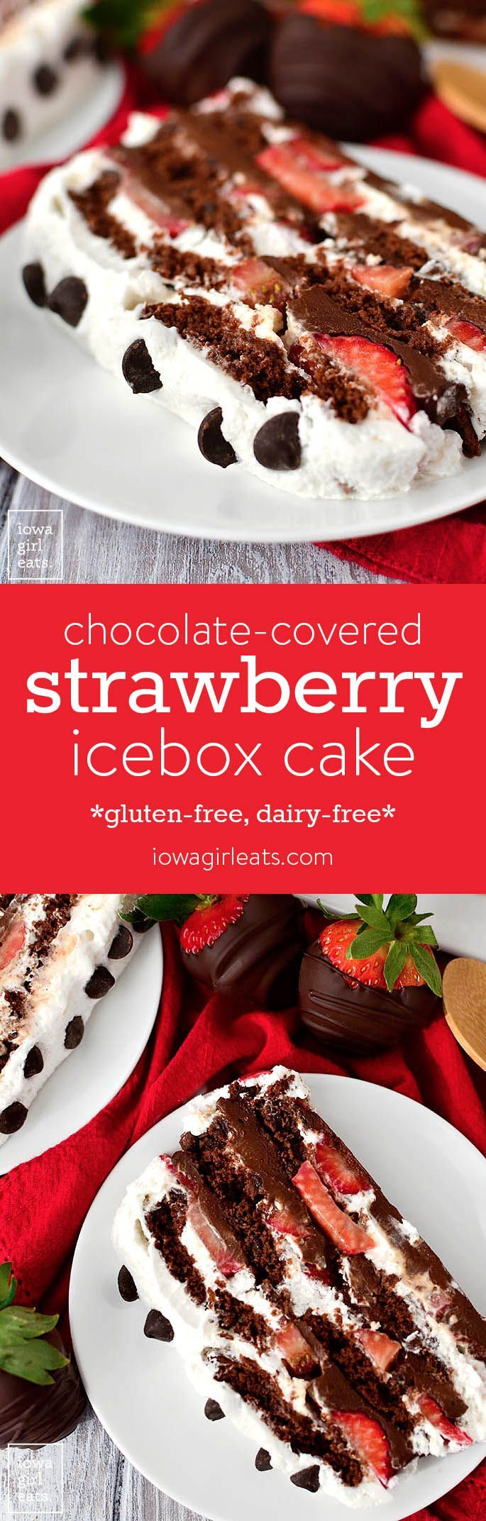 Chocolate-Covered Strawberry Icebox Cake is for serious chocolate lovers only!! This gluten-free, dairy-free dessert recipe is decadent, sweet, and packed with chocolate. | iowagirleats.com #glutenfree