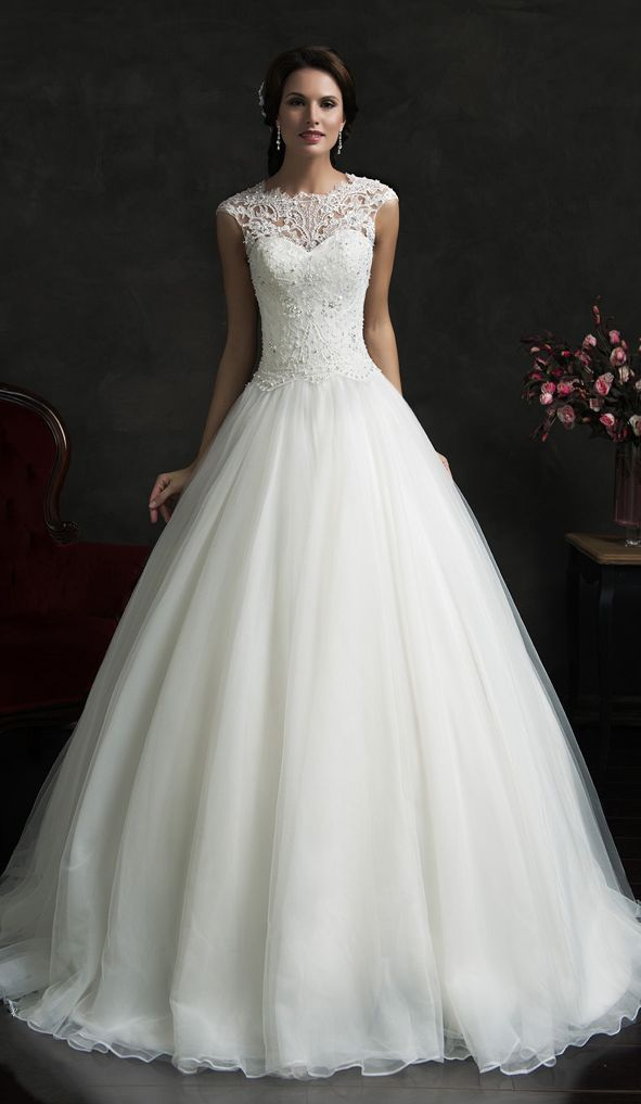 Unique Lace A Line Wedding Dresses Cap Sleeves Beading Bodice Elegant Bridal Gowns
