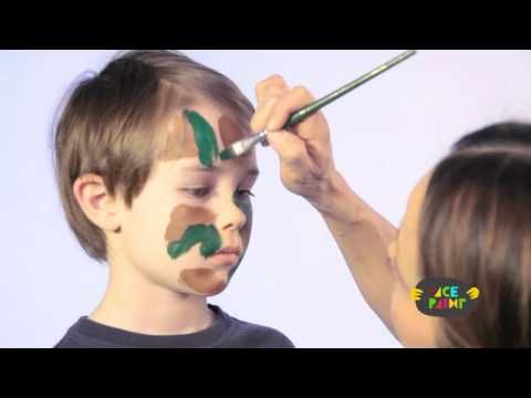 Kids Camouflage Face Painting Tutorial - YouTube