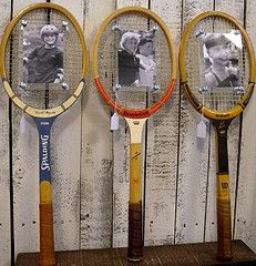 Got to love the personality of an old wooden tennis racket!  We have turned these cuties into picture frames.  Makes a great kitchy gift for the tennis lovers!