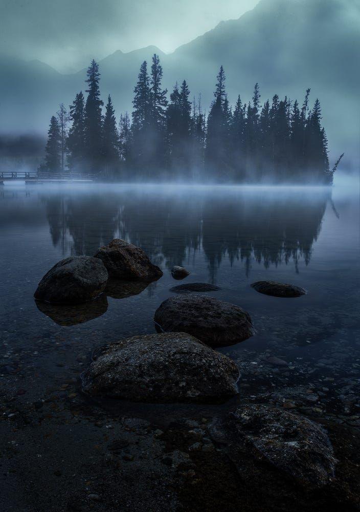 Misty Island (Pyramid Lake, Jasper, Alberta) by Andy Hu on 500px