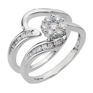 My Dream Bridal Setan White Gold Half Carat Diamond Cluster Set Find This Pin And More On Engagement Wedding Rings