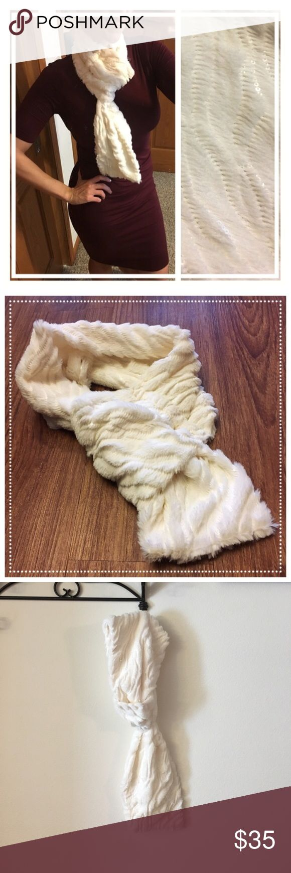 💥Luxurious/unique soft cream scarf subtle sequins 📦Same day shipping (as long as P.O. is open for business). ❤ Measurements are approximate. Descriptions are accurate to the best of my knowledge.  This luxurious cream-colored scarf will add sophistication & warmth to any outfit. The unique design is both easy to wear as well as chic in style. One end has a loop that the opposite ends slides through for effortless class. Fabric content: 100% soft brushed polyester and subtle sequins. Total…