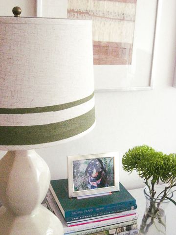 Simple, fabric replacement lamp shade made interesting with a bold, olive green stripe and metallic gold interior. Easily replicate this DIY project with a sample size of your favorite paint and a...