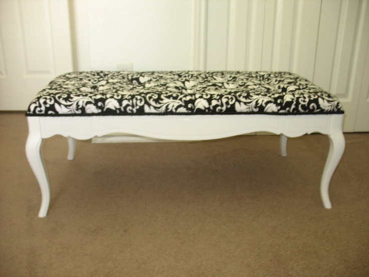Repurposed Coffee Table Shabby Chic Black and White $145