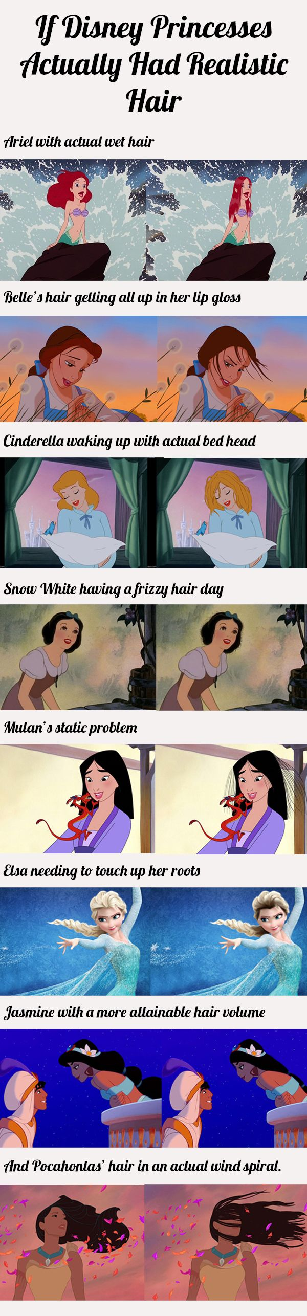 If Disney princesses actually had realistic hair… This is too amazing! #Humor