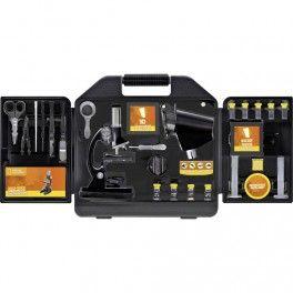 Comprar microscopio para niños barato, con maletín de transporte y multitud de accesorios. 300-600-1200 aumentos. Luz eléctrica o reflejada.