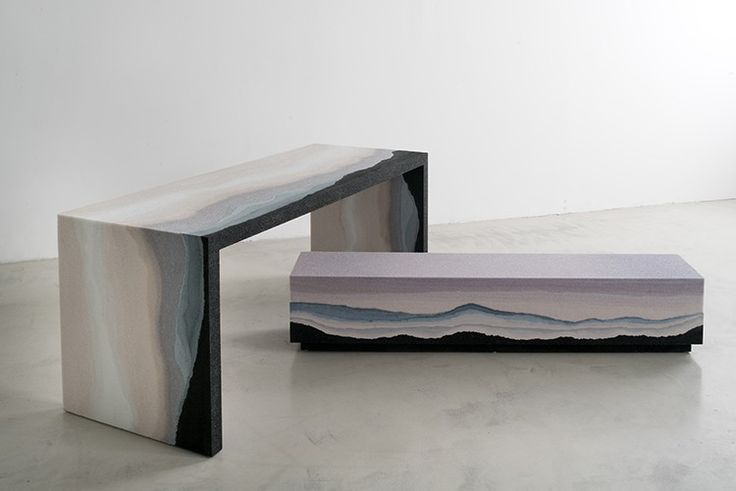 Escape uses simple, geometric lines and hand-dyed sand to suggest layers of earth