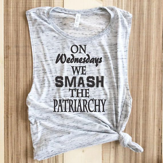 On Wednesdays We Smash the Patriarchy Tank Top in Heather white for Women - Feminist Shirts - Feminism - Womens Rights - Gender Equality   On Wednesdays We Smash the Patriarchy!    This White Marble Muscle Tank is a feminine version of the muscle tank, this must-have style is