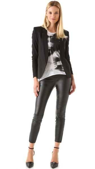 Blank Denim vegan leather leggings with rocker tee and blazer