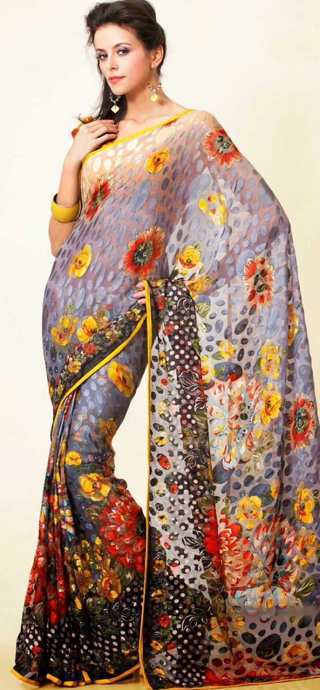 Gray floral brasso printed saree: KSR2626