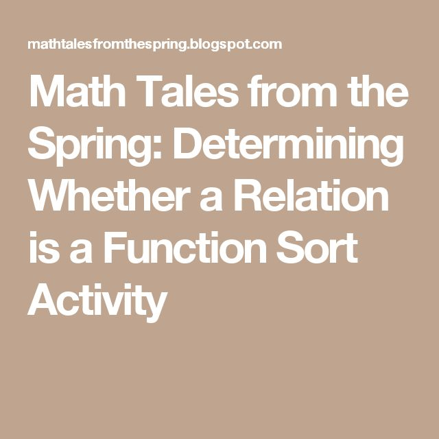 Math Tales from the Spring: Determining Whether a Relation is a Function Sort Activity
