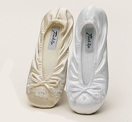 Adult Embroidered Bridal Ballet Slippers in White or Ivory $29.00