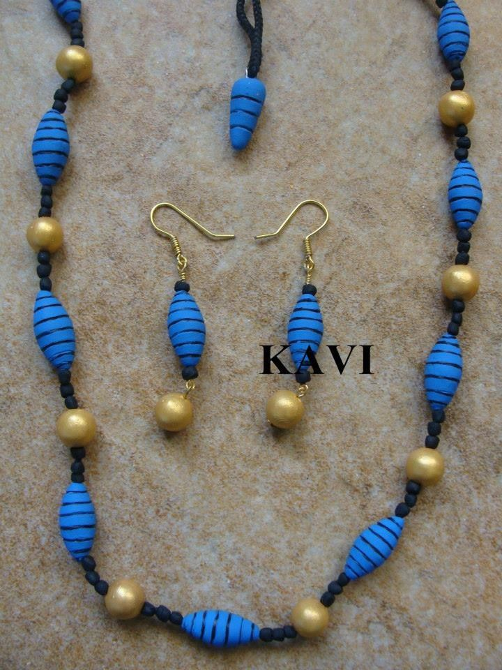 Simple handmade terracotta jewelry painted on bright blue & gold https://www.facebook.com/KavisTerracottajewellery