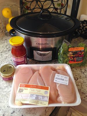 21 DAY FIX Healthy Crock Pot Chicken! This recipe is sooo incredibly easy! I am always trying to think of main protein dishes that I can have for my weekly lunches. This good ole standby recipe came in handy last night when I did not feel like fully getting into the meal prepping mode. You literally throw all the ingredients into the crock pot and let it do its magic.