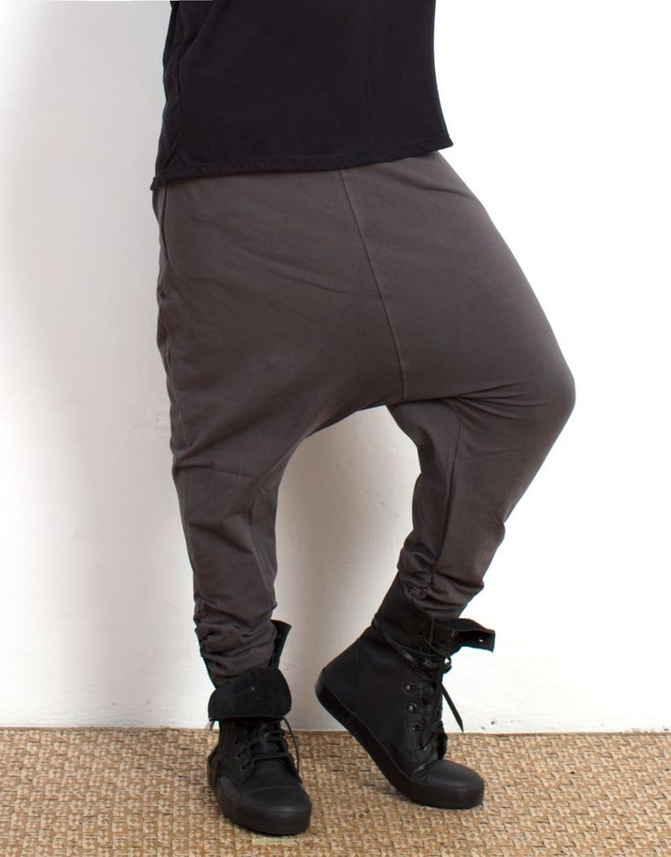 Charcoal Low Crotch Pants Organic Cotton