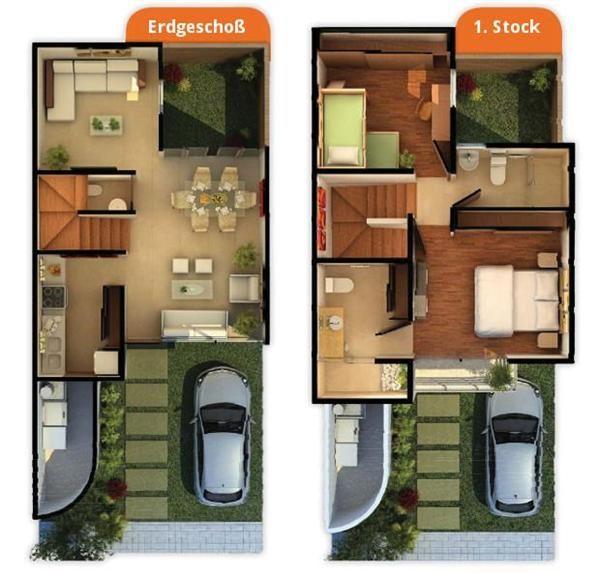 planos de casas de dos pisos 3d