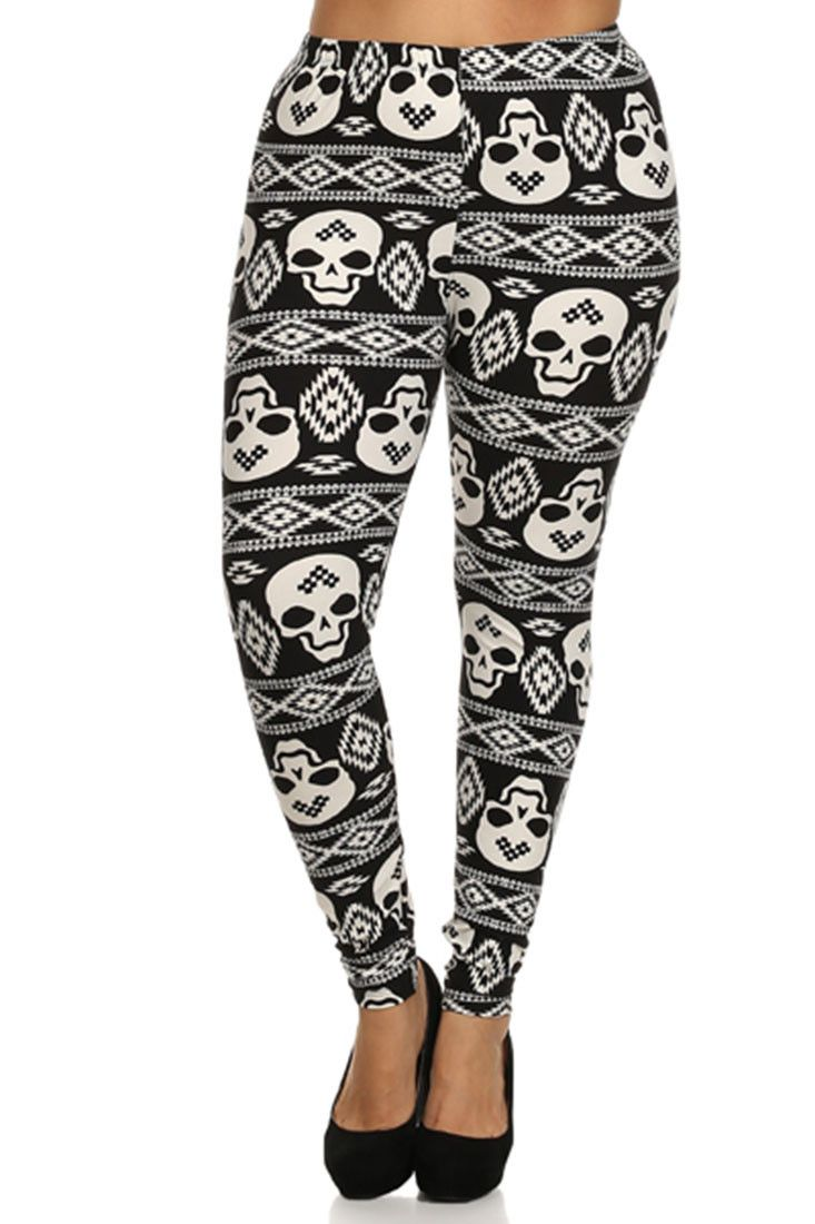 Black White Skull Design Plus Size Leggings – Niobe Clothing