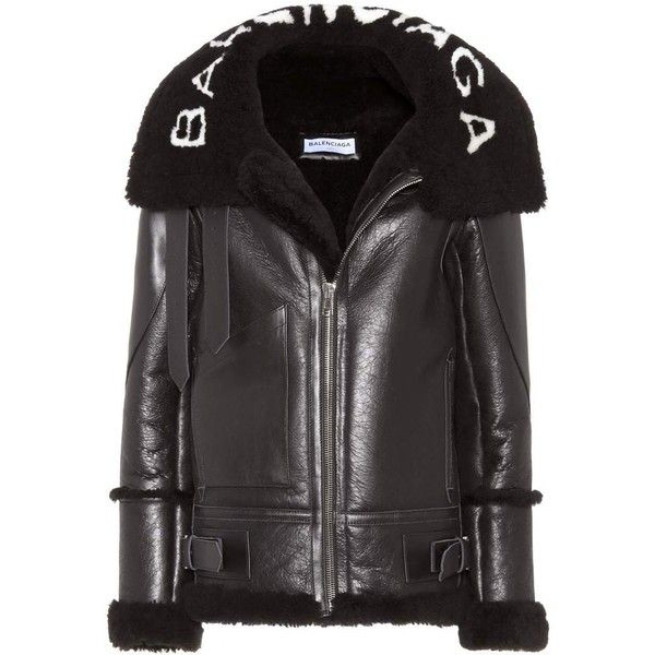 Balenciaga Leather Shearling-Lined Jacket ($3,680) ❤ liked on Polyvore featuring outerwear, jackets, black, balenciaga and balenciaga jacket