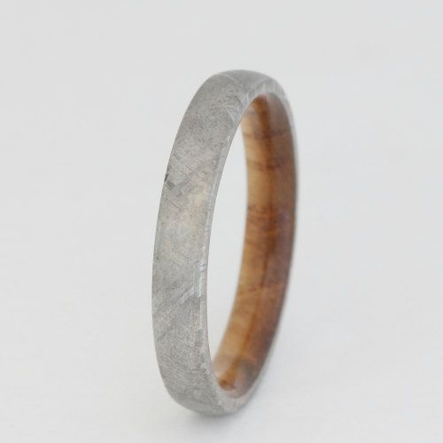 Black Ash Wood ring with Meteorite Overlay WP by jewelrybyjohan, $585.00