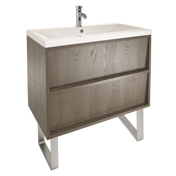 Slant 800 Wall Hung Unit With Basin U0026 Legs   Nebraska Oak | Bathstore