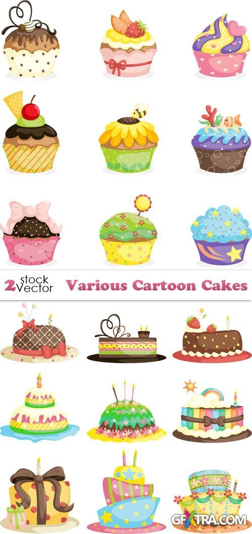Vectors - Various Cartoon Cakes