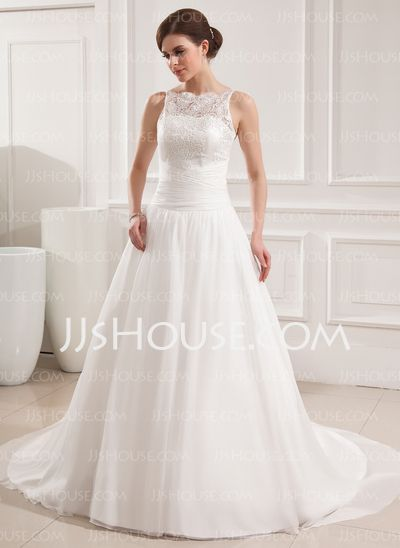 Wedding Dresses - $212.29 - Ball-Gown Scoop Neck Court Train Chiffon Satin Wedding Dresses With Ruffle Lace (002019534) http://jjshouse.com/Ball-Gown-Scoop-Neck-Court-Train-Chiffon-Satin-Wedding-Dresses-With-Ruffle-Lace-002019534-g19534