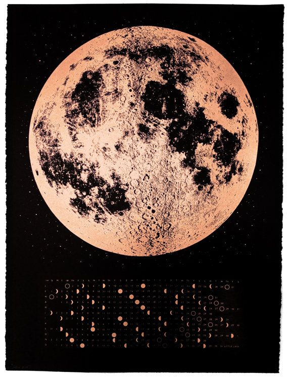 Copper 2014 Moon Phases Calendar, 22x30 large screenprint, also silver gold or grey print on black, pink luna lunar wall art, space, stars