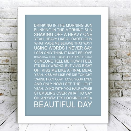 Song Lyrics Framed Print One Day Like This | GiftWrappedandGorgeous.co.uk This gorgeous framed print features the song lyrics 'One Day Like This' by Elbow. This makes an ideal gift and comes framed and ready to hang. £44.99