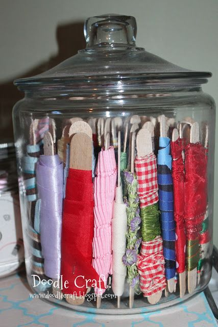 Doodle Craft...: Ribbon Storage! Super cute idea, but would I really unwrap and wind up new ribbon??