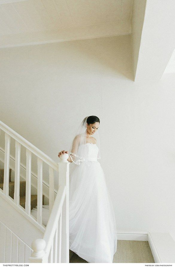 Beautiful strapless wedding dress with lace detail and silk ribbon and tuille skirt