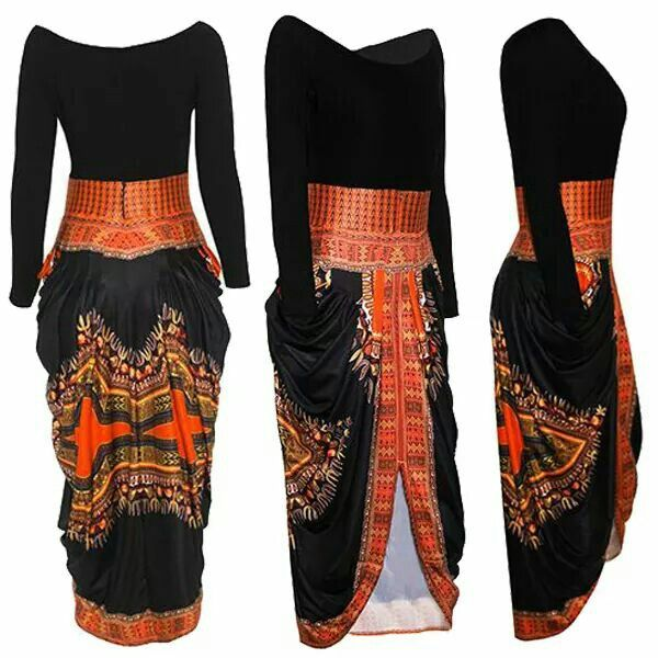 Hi-low black dress with kente skirt