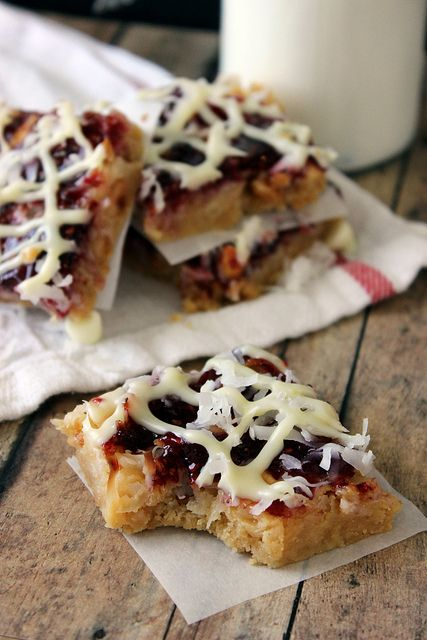Make these Lemon Raspberry Magic Bars by Beyond Frosting with directions here: http://beyondfrosting.wordpress.com/2013/05/12/lemon-raspberry-magic-bars/