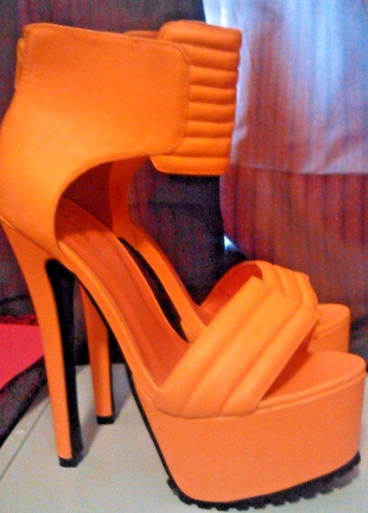 23857aa4a05 Amiclubwear Women s Neon Orange Platform Heels. 8.5 9 M  AmiClubwear   PlatformsWedges