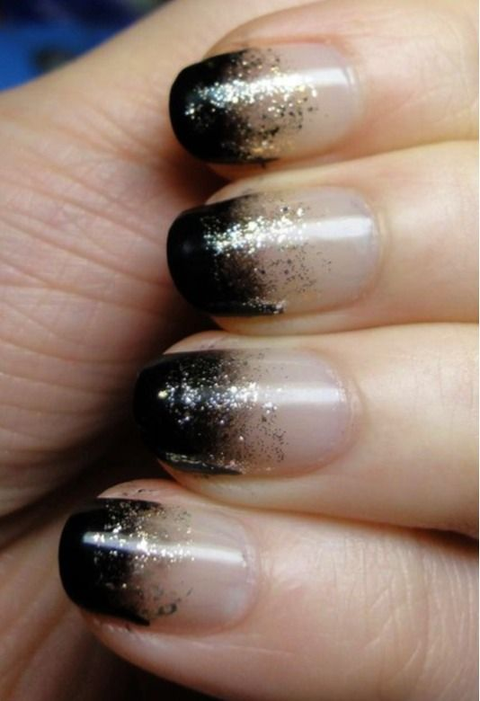 Gradient French Manicure: Black Gradient With Gold Glitter