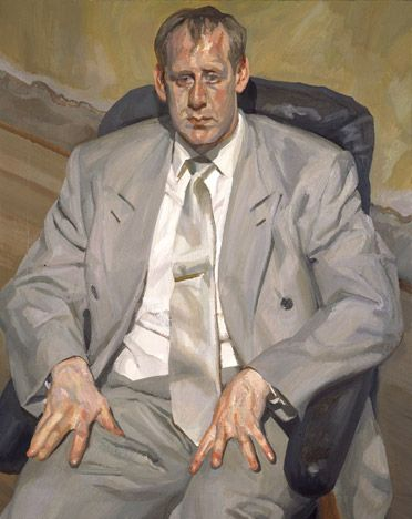Man in Silver Suit, 1998 by Lucian Freud. Expressionism. portrait. Private Collection