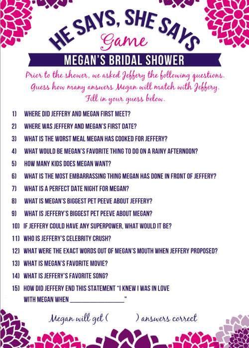 Bridal Shower Question Game List Wedding Ideas