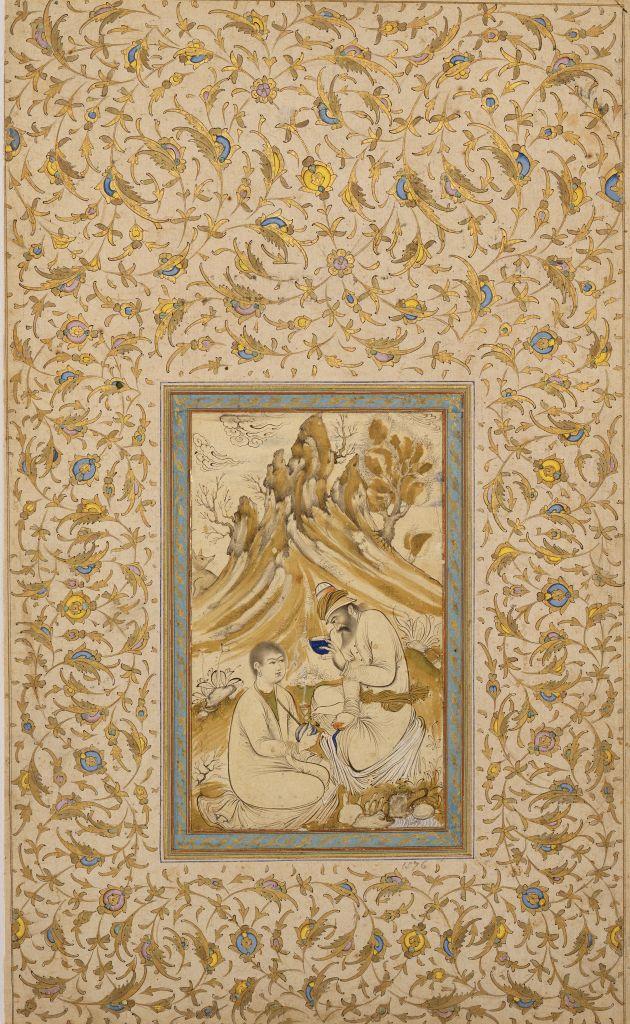 Muhammad-Zaman Ibn Haji Yusuf (Persian, 1643-1689), Sage and Youth, 1643/1689, ink and gold on paper,