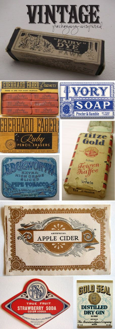 vintage packaging inspirations for something! :) not sure what, but I will use these for something!