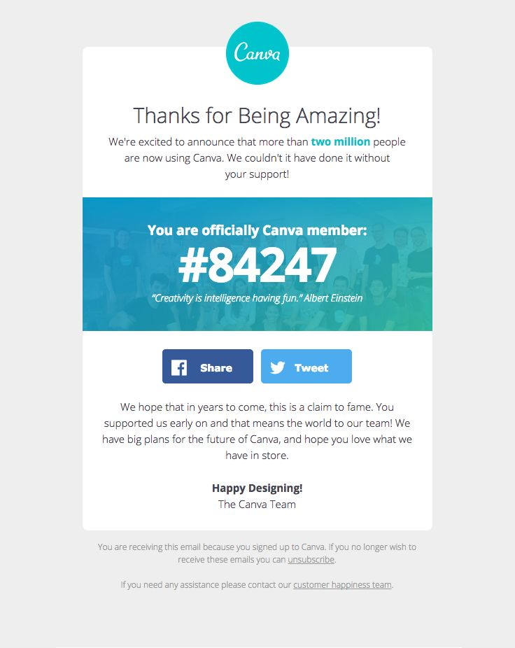 @canva sent this email with the subject line: Yay, 2 million members and counting! See when you joined Canva - This is a nice way of using data to encourage a customer and make them feel connected to the app. The colors are strong and things feel relaxing and enticing.  Read about this email and find more customer appreciation emails at ReallyGoodEmails.com #customerappreciation #retention